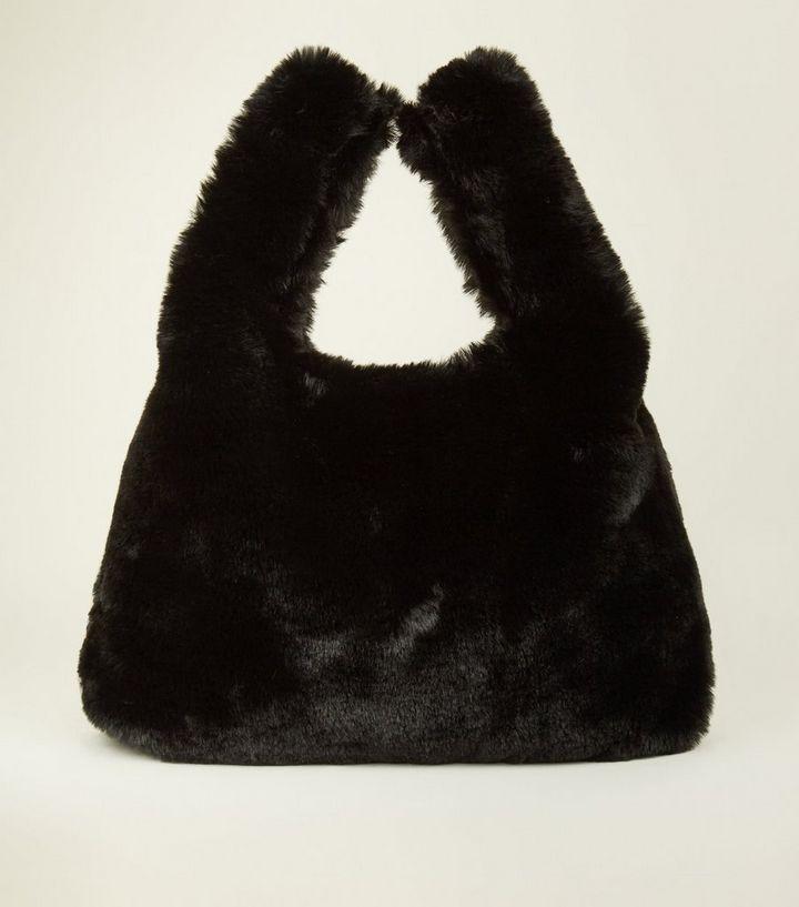 bf43f6b2edf5 Black Faux Fur Shopper Bag