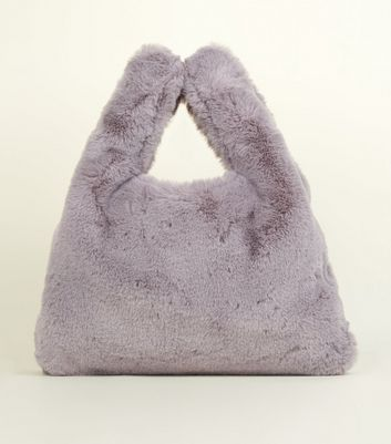 Grey Faux Fur Shopper Bag