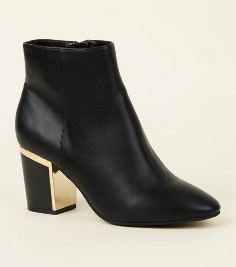 ae135b54e19 ... Black Leather-Look Metal Heel Ankle Boots ...