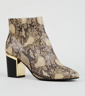 Stone Faux Snake Metal Heel Ankle Boots
