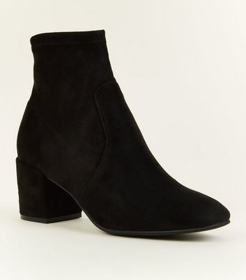 Black Suedette Square Toe Sock Boots by New Look