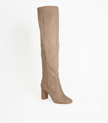 Light Brown Suedette Block Heel Knee High Boots