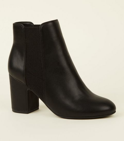 ecd0c5e04bd3 ... Black Leather-Look Block Heel Chelsea Boots ...
