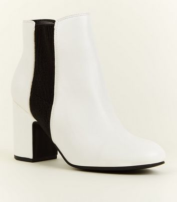 White Leather Look Block Heel Chelsea Boots by New Look