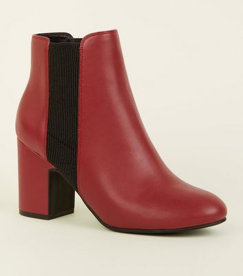 Red Leather-Look Block Heel Chelsea Boots