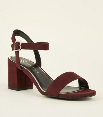 Girls Burgundy Suedette Square Buckle Heeled Sandals