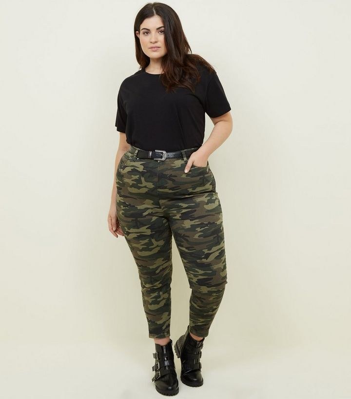b5dad95ab7d76 Curves Khaki Camo Print Skinny Jeans | New Look