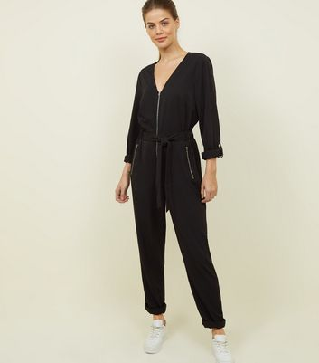 Tall Black Zip Front Boiler Jumpsuit
