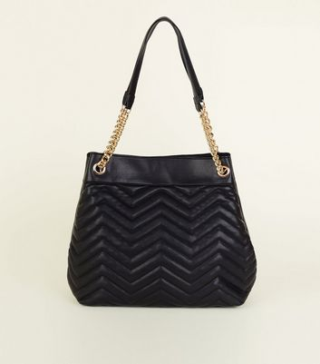 Black Leather-Look Quilted Chain Strap Tote Bag