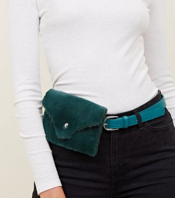 Dark Green Faux Fur Purse Belt