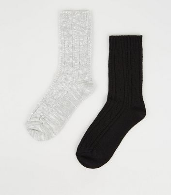2 Pack Black and Grey Ribbed Boot Socks