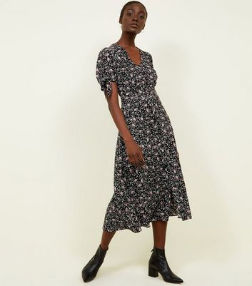 Black Floral Tie Sleeve Button Up Midi Dress