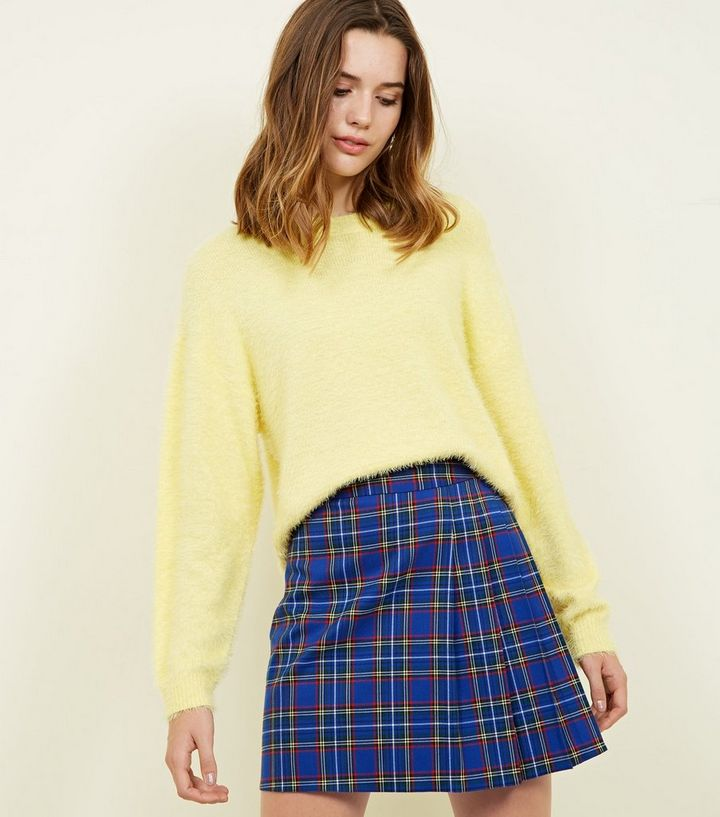 a389c1ad3c Blue Check Pleated Mini Skirt