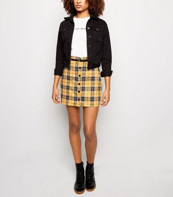 Mustard Check Button Through Belted Skirt