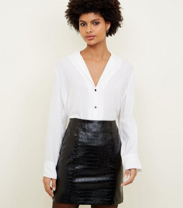 afde07991 Black Faux Croc Mini Skirt | New Look