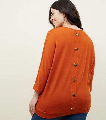 Curves Orange Button Back Fine Knit T-Shirt