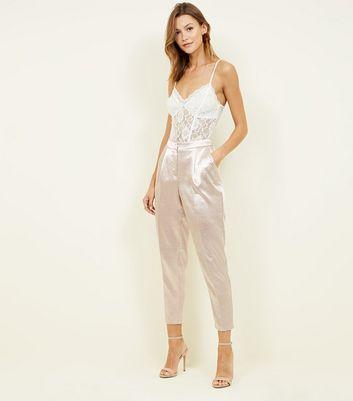 Fuselé Moyen Rose En New Look Satin Pantalon 1axvPa