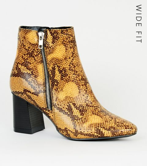 668abcb04d67 ... Wide Fit Mustard Faux Snake Flare Heel ...