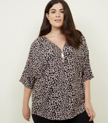 Curves Pink Leopard Print Zip Front Tunic Top