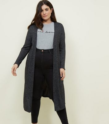 Curves Black Midi Cardigan