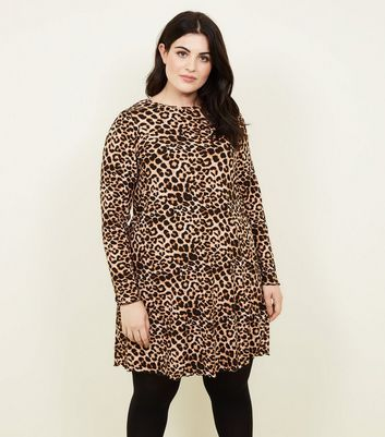 Curves Leopard Print Long Sleeve Dress