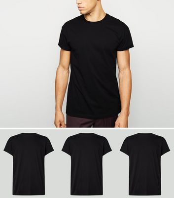 3 Pack Black Roll Sleeve T-Shirts
