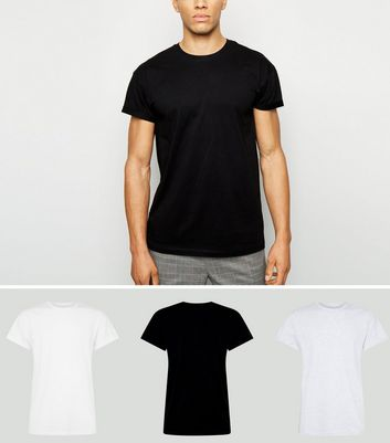 3 Pack Black, White and Grey Roll Sleeve T-Shirts