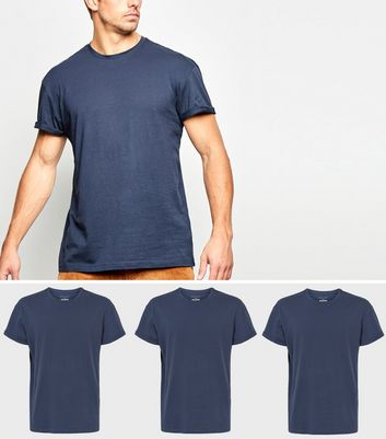 3 Pack Navy Roll Sleeve T-Shirts