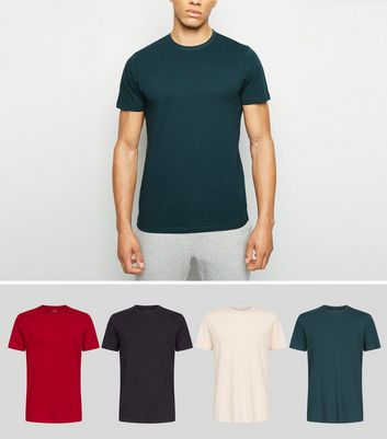 4 Pack Dark Red Crew Neck T-Shirts