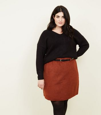 Curves Rust Brushed Belted Skirt