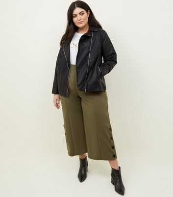 Curves Khaki Button Hem Culottes
