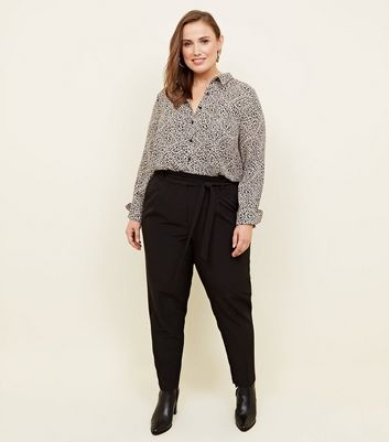 Curves Black Paperbag Waist Trousers
