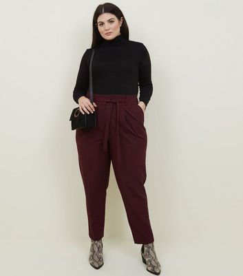 Curves Burgundy Paperbag Waist Trousers