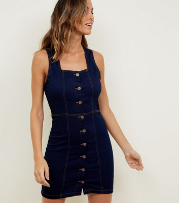 Parisian Blue Button Front Denim Dress
