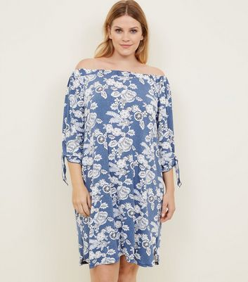 Blue Vanilla Curves Navy Floral Bardot Tunic Dress