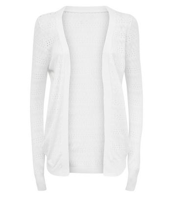 Apricot Cream Pointelle Cardigan New Look