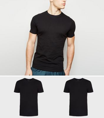 2 Pack Black and Khaki Muscle Fit T-Shirts