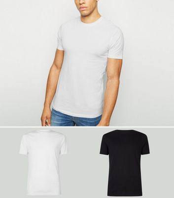 4429b3727 Shoptagr | 2 Pack Black And White Muscle Fit T Shirts by New Look