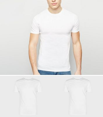 2 Pack White Muscle Fit T-Shirts