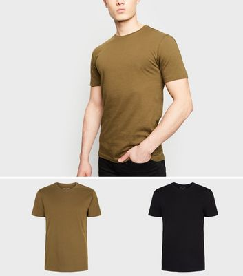 2 Pack Khaki and Black Muscle Fit T-Shirt