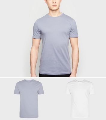 2 Pack White and Pale Blue Muscle Fit T-Shirts