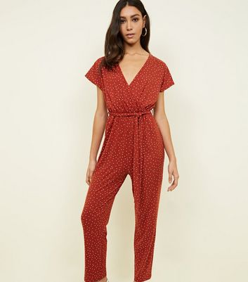 Orange Spot Print Soft Touch Wrap Jumpsuit
