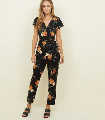 Black Floral Soft Touch Wrap Front Jumpsuit