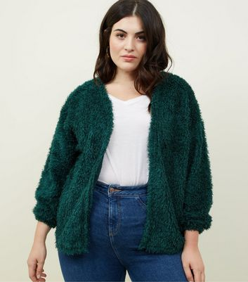 Curves Dark Green Fluffy Fine Knit Cardigan