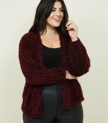 Curves Burgundy Fluffy Fine Knit Cardigan