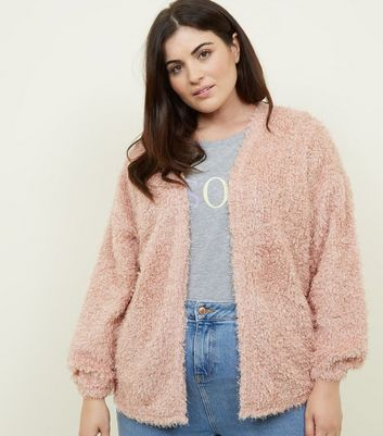 Curves Pale Pink Fluffy Fine Knit Cardigan