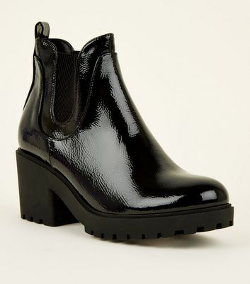 Girls Black Patent Chunky Cleated Chelsea Boots
