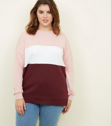 Curves Pink Colour Block Sweatshirt