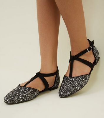 Girls Pewter Glitter T-Bar Square Buckle Flats
