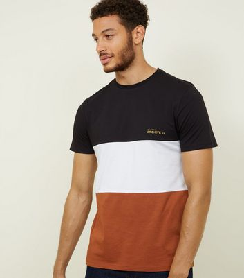 Brown Archive Embroidered Colour Block T-Shirt